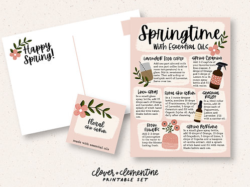 """""""Springtime With Essential Oil"""" DIY and Sticker Set 
