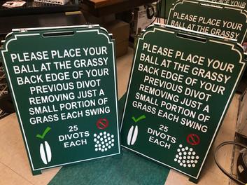 Custom golf course range board Divot information