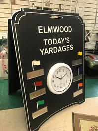 Custom golf course range board with logo and clock