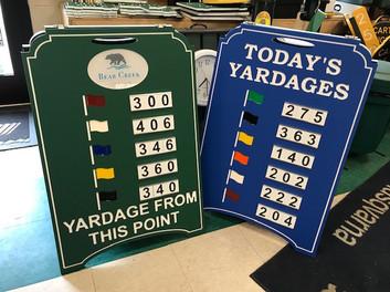 Custom golf course range board with logo