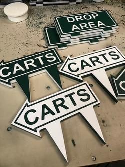 Golf course custom carts arrow sign