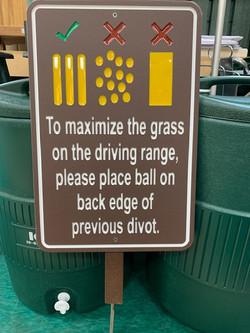 Golf course custom divots sign