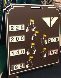 Custom logo golf course range board with colorfill