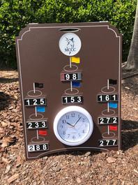 Custom logo golf course range board with clock