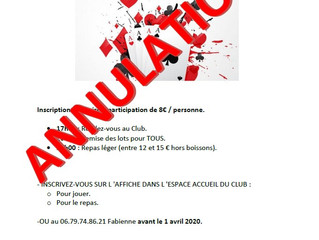 ANNULATION      03/04/2020 - SOIREE CARTES - BELOTE -