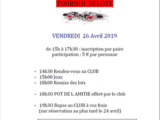 TOURNOI DE BELOTE le 26 AVRIL au TCO