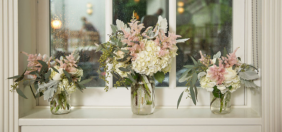 Mason jar florals, countryside wedding