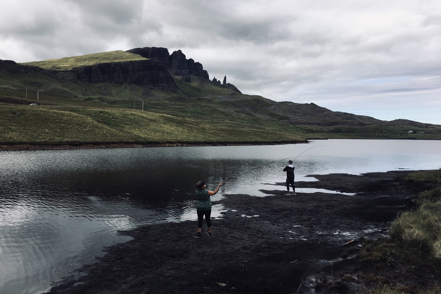 Guests fishing at the Storr Loch