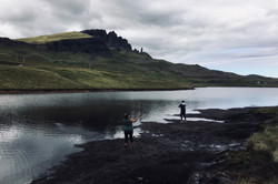 Guests enjoying a days fishing at the Storr Loch