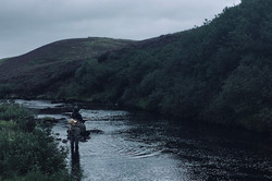 A guest angler fishing on the upper Snizort