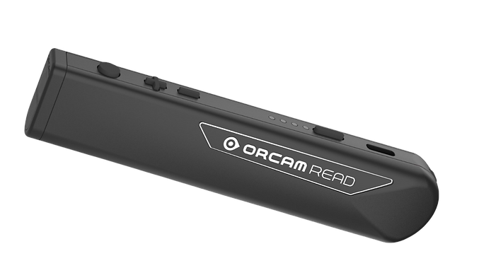 photo of an OrCam Read device. Black in color. Shaped like a fat pen.