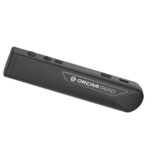 Orcam Read is held like a pen, all black, with camera on one end, and 4 buttons on the top edge. It's 5 inches long