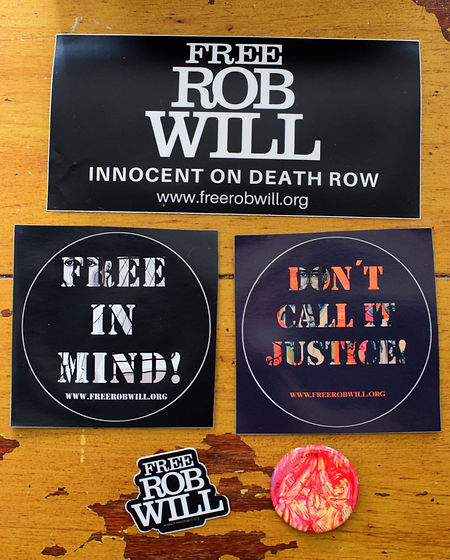 Free Rob Will sticker and pin pack