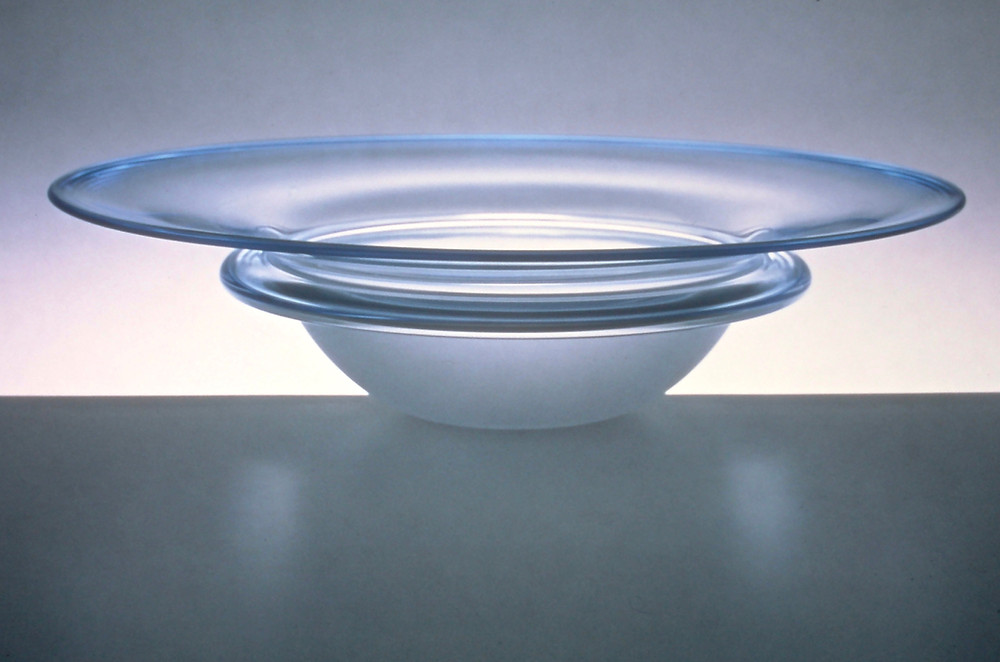 Blue fade Saturn bowl, repeatable design by Samantha Sweet 1997
