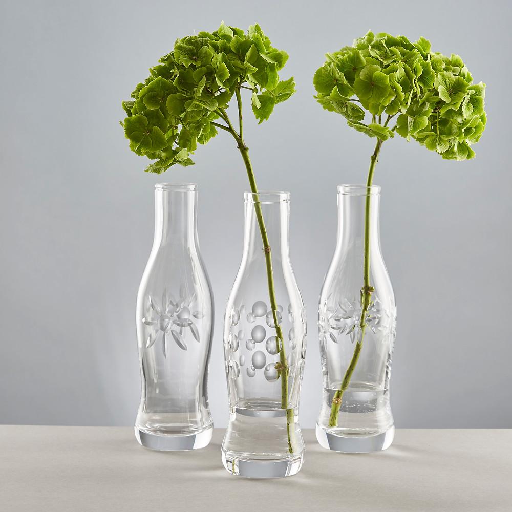 Hydrangeas looking stunning in arranged in Cut Crystal Pop Bottles