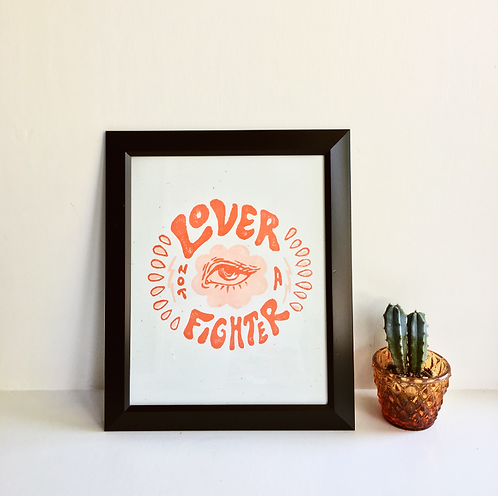 """""""Lover Not A Fighter"""" block print"""