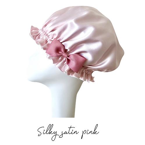 シルキーサテンのナイトキャップ〜選べるリボン【ピンク×ベージュ】