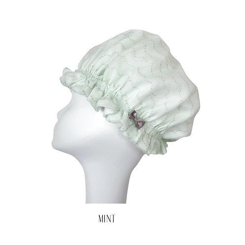 〈国産シルク〉洗えるシルクのナイトキャップ【ミント】
