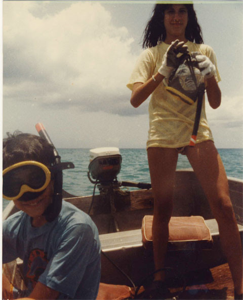 my brother and me on the boat before we ran out of gas. © Bazell Family