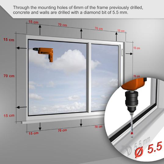 A través de los orificios de montaje de 6 mm del marco previamente perforado, el hormigón y las paredes se taladran con una broca de diamante de 5,5 mm.
