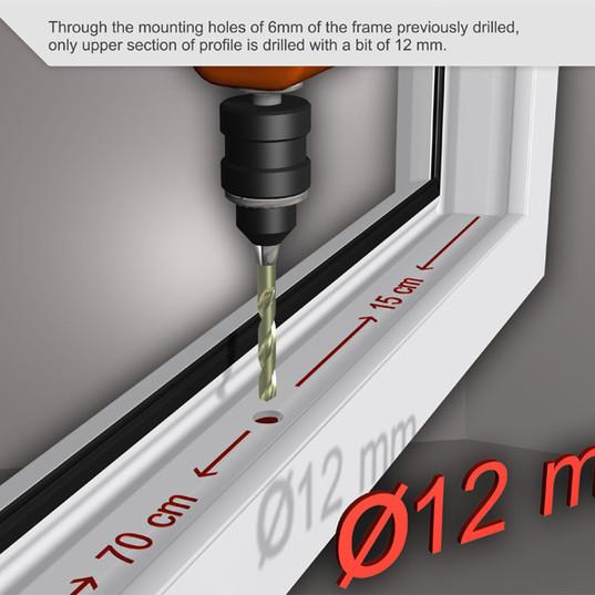 A través de los orificios de montaje de 6 mm del marco previamente perforado, solo se perfora la sección superior del perfil con un poco de 12 mm.