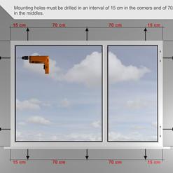 Los orificios de montaje deben taladrarse en un intervalo de 15 cm en las esquinas y de 70 cm en el centro