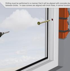 La perforación se debe realizar de manera que se alinee con los conductos de hormigón entre los ladrillos. En caso de que los tornillos estén alineados con agujeros de ladrillo, no puede funcionar.