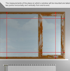 Las medidas del lugar en el que se montará una ventana se toman al menos dos puntos horizontal y verticalmente de extremo a extremo.
