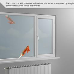 Las esquinas sobre las que se cruzan la ventana y la pared se cubren aplicando masilla de silicona desde el interior y el exterior.