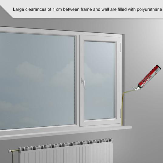 Las espacios libres grandes de 1 cm entre el marco y la pared se rellenan con espuma de poliuretano.