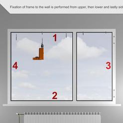 La fijación del marco a la pared se realiza desde las secciones laterales superior, inferior y finalmente lateral.
