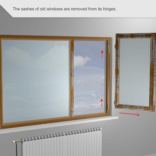 Las fajas de las ventanas viejas se quitan de sus bisagras.