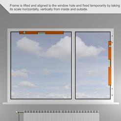 El marco se levanta y se alinea con el orificio de la ventana y se fija temporalmente tomando su escala horizontal, verticalmente desde adentro y afuera.
