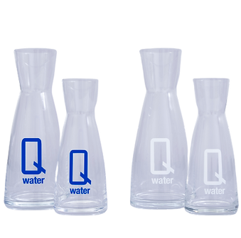Q water .5 and 1L decanter - white and b