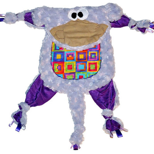 Purple Monkey with Rainbow Squares Tummy