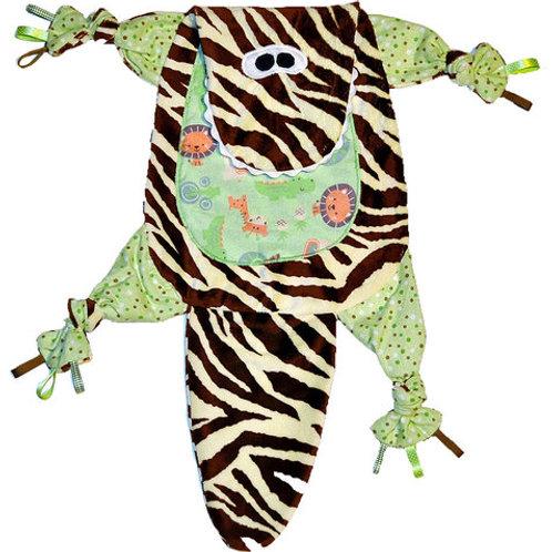 Green Dino Zebra Stripe with Jungle Critter Tummy (Dino 2)