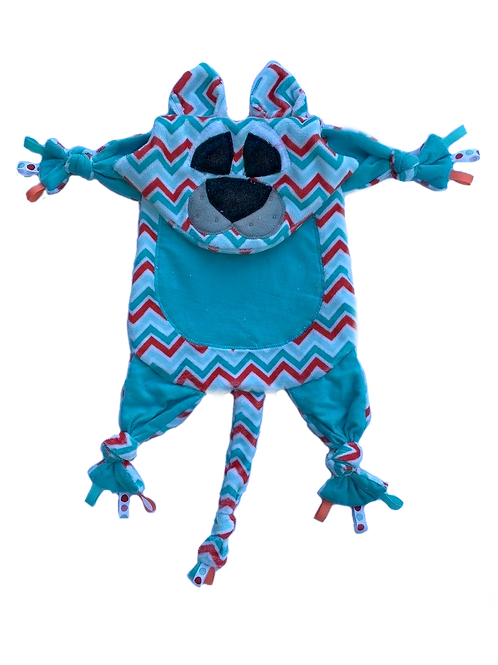 Teal and Coral Chevron Kitty (Kitty 11)