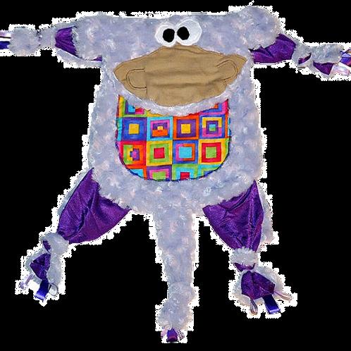 Fuzzy Lavender Kitty with Rainbow Square Tummy (Monkey 14)