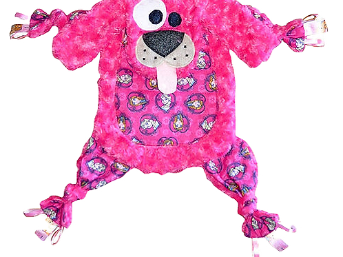 Fuzzy Pink Puppy with Elsa and Anna Tummy (Puppy 25)