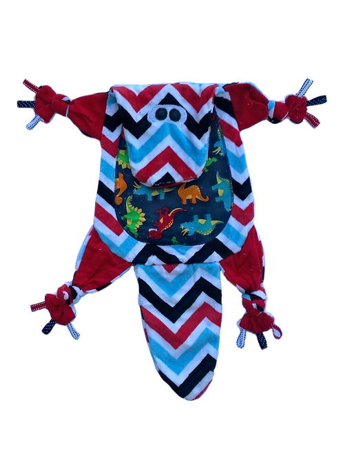 Red and Blue Chevron Dino with Navy Tummy (Dino 6)