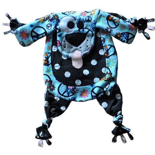 Teal Peace Sign Puppy with Polka Dot Tummy (Puppy 5)