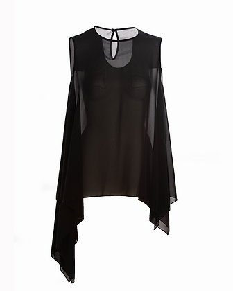 Silhouette Singlet - Black Chiffon