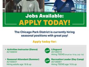 Chicago Park District Hiring!