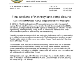 Final Weekend of Kennedy Lane, ramp Closures