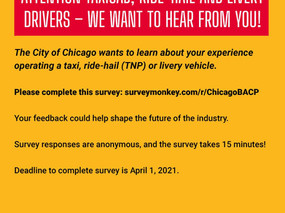 Survey for Taxicab, Ride-Hail and Livery Drivers