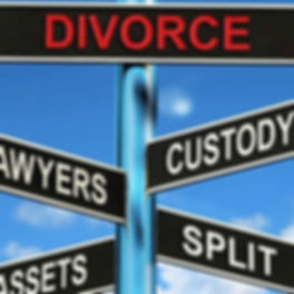divorce signpost: which way to go: lawyer; custody; assets;
