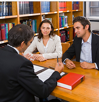 Parties discussing their divorce with mediator