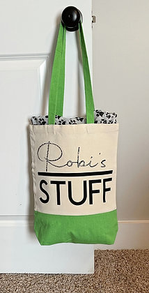 Personalized Green Canvas Tote Bag