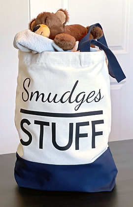 Personalized Blue Canvas Tote Bag