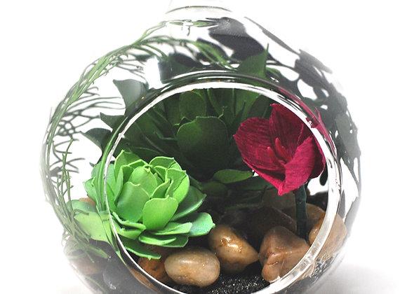 Mini Succulent Terrarium Ornament |  Hot Pink Flower Collection